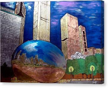 Chicago Cloud Gate At Millennium Park Canvas Print by Char Swift
