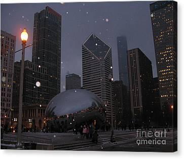 Chicago Cloud Gate At Night Canvas Print by Ausra Huntington nee Paulauskaite