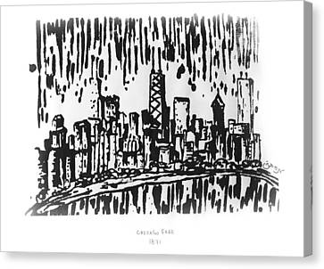 Canvas Print featuring the painting Chicago Great Fire Of 1871 Serigraph Of Skyline Buildings Sears Tower Lake Michigan Hancock Bw by M Zimmerman