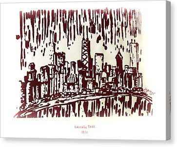 Canvas Print featuring the painting Chicago Great Fire Of 1871 Serigraph Of Skyline Buildings Sears Tower Lake Michigan John Hancock  by M Zimmerman