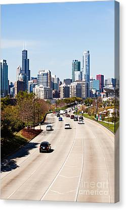 Chicago Lake Shore Drive Cars Canvas Print by Paul Velgos