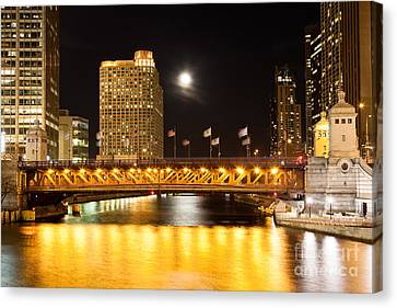 Chicago Michigan Avenue Dusable Bridge At Night Canvas Print by Paul Velgos