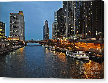 Chicago River At Twilight Canvas Print by Mary Machare