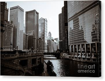 Chicago River Canvas Print - Chicago River Downtown Buildings In Black And White by Paul Velgos