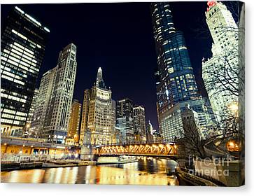 Chicago River Canvas Print - Chicago River Skyline At Night by Paul Velgos