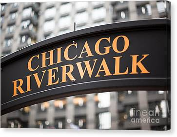 Chicago Riverwalk Sign Canvas Print