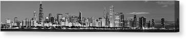 Sky Line Canvas Print - Chicago Skyline At Dawn In Black And White by Twenty Two North Photography