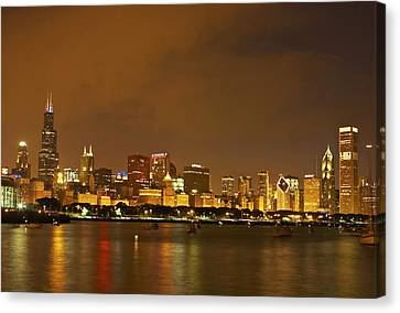 Chicago Skyline At Night Canvas Print by Axiom Photographic