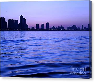 Chicago Skyline At Night Canvas Print by Sophie Vigneault