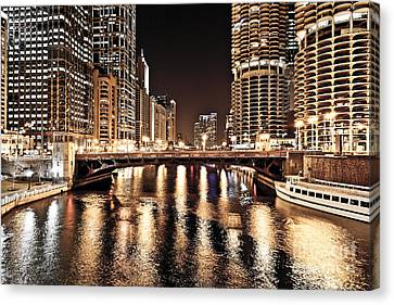 Chicago Skyline At State Street Bridge Canvas Print by Paul Velgos