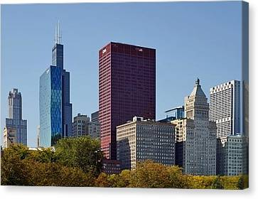 Chicago Skyline From Millenium Park Canvas Print by Christine Till