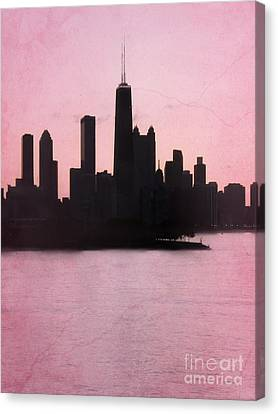 Chicago Skyline In Pink Canvas Print by Sophie Vigneault