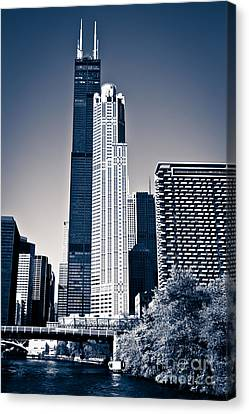 Chicago River Canvas Print - Chicago Skyline With Sears-willis Tower by Paul Velgos