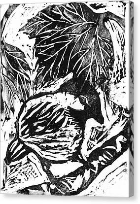 Chick-a-dee  Block Print Canvas Print by Ellen Miffitt