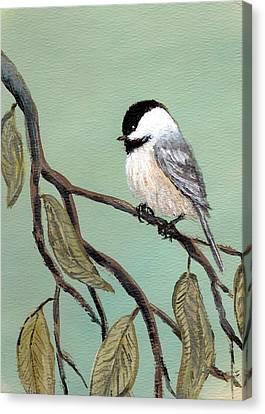 Chickadee Set 10 - Bird 2 Canvas Print by Kathleen McDermott