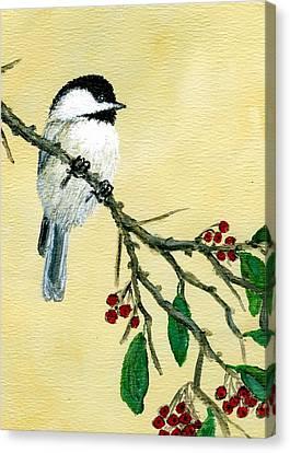 Chickadee Set 4 - Bird 1 - Red Berries Canvas Print by Kathleen McDermott