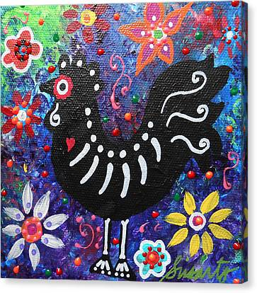 Chicken Day Of The Dead Canvas Print by Pristine Cartera Turkus