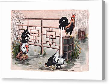 Chickens At The Gate Canvas Print by Nancy Pahl
