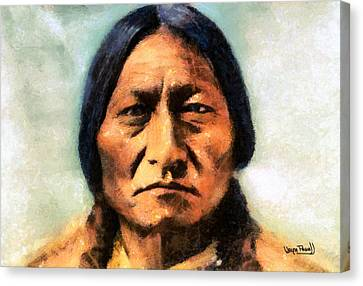 Canvas Print featuring the painting Chief Sitting Bull by Wayne Pascall