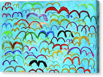 Child Drawing Of Colorful Birds In Blue Sky Canvas Print by Donald Iain Smith