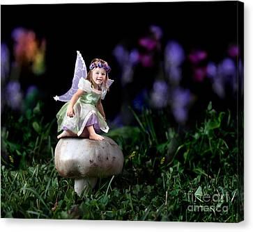 Child Fairy On Mushroom Canvas Print by Cindy Singleton