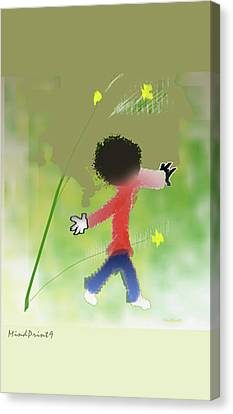 Canvas Print featuring the digital art Child In Nature by Asok Mukhopadhyay