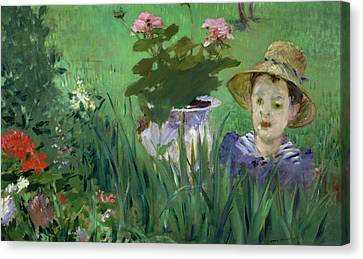 Child In The Flowers Canvas Print by Edouard Manet
