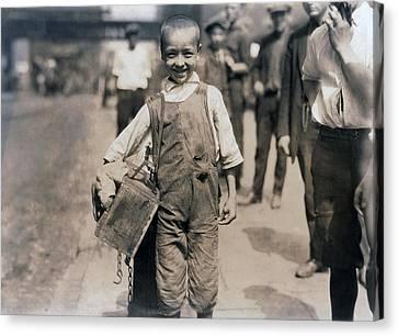 Child Labor, Bootblack Near Trinity Canvas Print by Everett