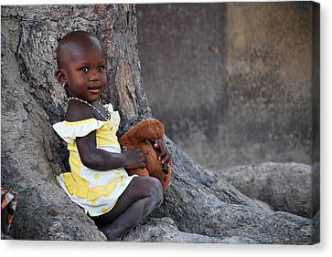 Child With Her Teddy Canvas Print