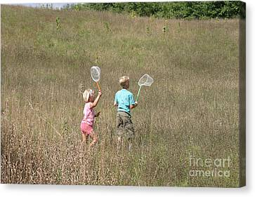 Children Collecting Insects Canvas Print by Ted Kinsman