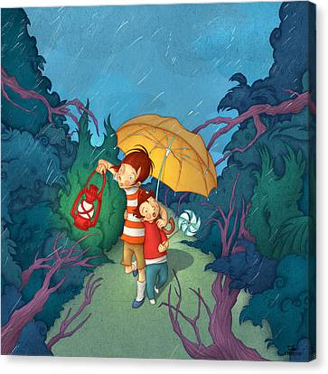 Children On Nocturnal Forest Canvas Print by Autogiro Illustration