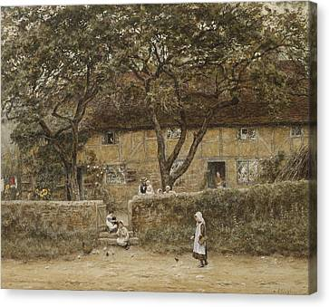 Children Outside A Cottage Canvas Print