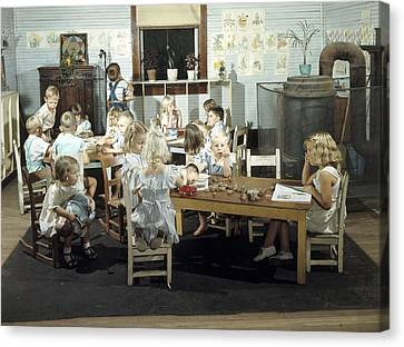 Children Play In A Day Nursery Canvas Print by J Baylor Roberts