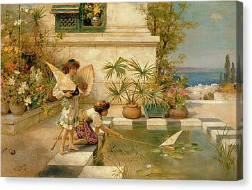 Children Playing With Boats Canvas Print by William Stephen Coleman