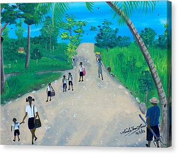 Children Walking To School Canvas Print by Nicole Jean-Louis