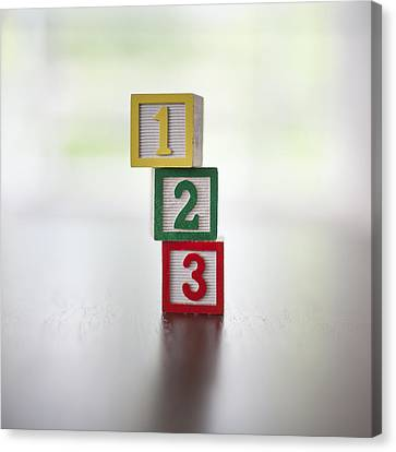 Child's Numbered Building Blocks 1-3 In A Stack Canvas Print by Steven Errico