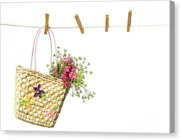 Child's Straw Purse With Flowers Canvas Print by Sandra Cunningham
