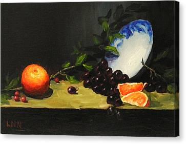 China Bowl And Fruits Canvas Print