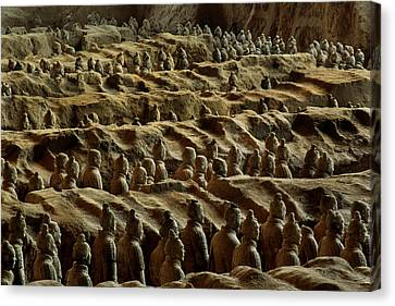 Chinas Great Terracotta Army Is Seen Canvas Print by O. Louis Mazzatenta