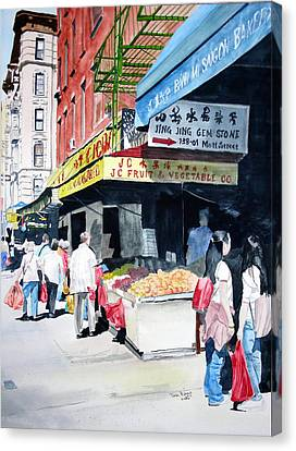 Canvas Print featuring the painting Chinatown Number One by Tom Riggs