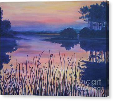 Canvas Print featuring the painting Chincoteaque Island Sunset by Julie Brugh Riffey