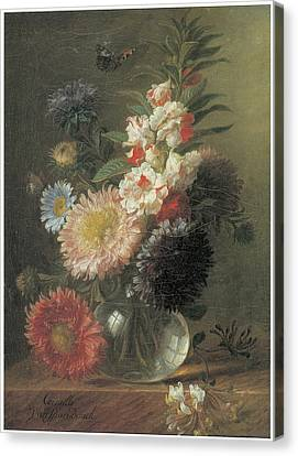 Chinese Aster And Balsam In A Glass Vase Canvas Print by Cornelis Van Spaendonck