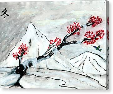 Chinese Brush Paint Winter Canvas Print by Shashi Kumar