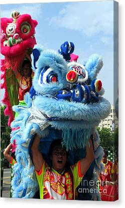 Chinese Lion Dancers In Taiwan's Southern City Of Kaohsiung Canvas Print by Yali Shi