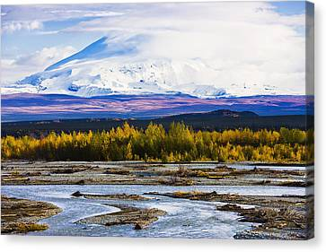 Chistochina River And Mount Sanford Canvas Print by Yves Marcoux