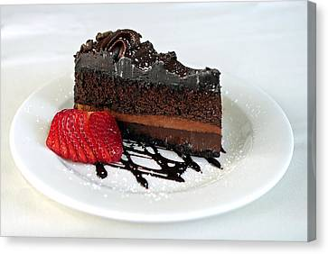 Strawberry Canvas Print - Chocolate Cake by Lisa Phillips