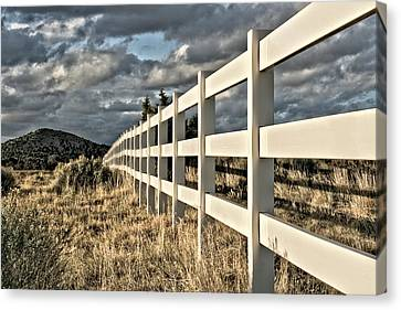 Fence Row Canvas Print - Choose A Side by Mark  Ross