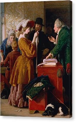 Choosing The Wedding Gown From Chapter 1 Of 'the Vicar Of Wakefield' Canvas Print by William Mulready
