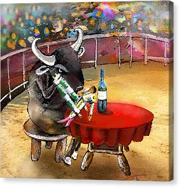 Chop Sticks For A Bull Canvas Print by Miki De Goodaboom