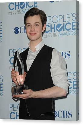 Chris Colfer In The Press Room Canvas Print by Everett